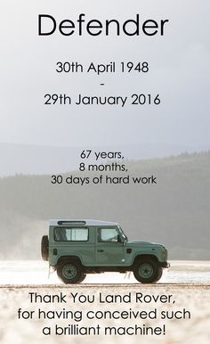 Production of the Land Rover Defender will end on Friday 29th January 2016