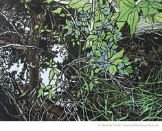 """""""Ditch,"""" reduction linocut, edition of 10. Image size 9"""" x 12,"""" hand printed on Hosho."""