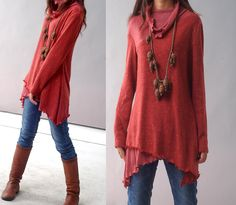 Face - layered woolen tunic dress (Y1221). $69.00, via Etsy.