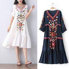 White Women Vintage Ethnic Mexican Embroidered Spliced Long Boho Loose Dress