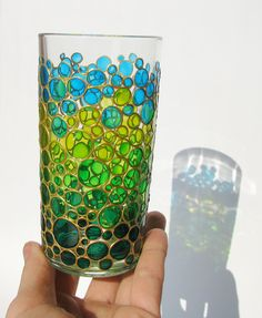 Items similar to Glass Bubbles Tumbler Hand Painted Water Glass spring colors sun catcher tumbler Hand painted Drinking Glass Bubbles Design Glassware on Etsy Glass Bottle Crafts, Bottle Art, Glass Bottles, Colored Bubbles, Colored Glass, Mosaic Glass, Glass Art, Paint And Drink, Glass Painting Designs