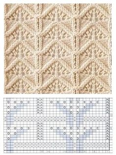 Knitted blanket for blouse Lace Knitting Stitches, Loom Knitting Patterns, Knitting Charts, Knitting Designs, Knitting Projects, Hand Knitting, Stitch Patterns, Crochet Patterns, How To Purl Knit