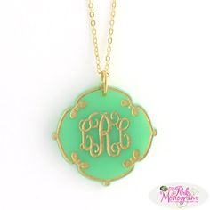 Monogrammed Ornate Clover Acrylic Necklace at The Pink Monogram