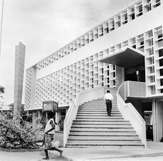 Accra Library - circa 1956: The unusual facade of the public library in Accra, capital of Ghana.