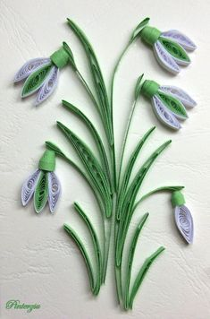 Best 12 Quilled snowdrop by pinterzsu on DeviantArt Quilling Butterfly, Arte Quilling, Paper Quilling Cards, Paper Quilling Flowers, Paper Quilling Tutorial, Quilled Paper Art, Paper Quilling Designs, Paper Flowers Craft, Quilling Paper Craft