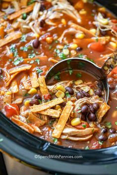 This slow cooker tortilla soup is an easy Crock Pot chicken soup recipe that tastes absolutely amazing with lime and cilantro! #spendwithpennies #chickentortillasoup #slowcookerchickentortillasoup #crockpot #soup #easysoup #tortillasoup Authentic Chicken Tortilla Soup, Chili's Chicken Enchilada Soup, Healthy Chicken Tortilla Soup, Cheesy Chicken Enchiladas, Chicken Soup Recipes, Healthy Soup Recipes, Crockpot Recipes, Chicken Soups, Recipe Chicken