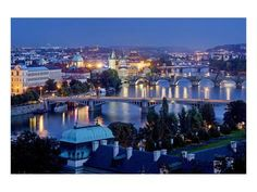 Premium Giclee Print: View from Letna Hill across Vltava Bridges towards the Old Town of Prague, Czech Republic : 9x12in