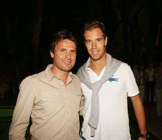 Le Classic Tennis Tour de Saint-Tropez avec: un grand joueur français: Richard Gasquet (à droite) et un ancien grand joueur français, Fabrice Santoro
