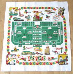 Vintage Tablecloth Souvenir Las Vegas Gambling Casino at NeatoKeen