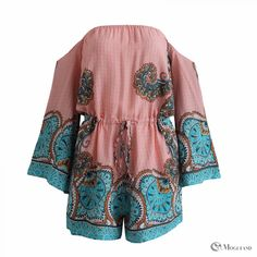 Relaxed multi-colored Indian print off shoulder long sleeve playsuit  front