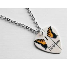 Guitar Pick Necklace: Paramore Necklace - Paramore Butterfly - Brand... (51 SAR) ❤ liked on Polyvore featuring jewelry, necklaces, long silver necklace, butterfly necklace, butterfly jewelry, short necklaces and guitar pick necklace