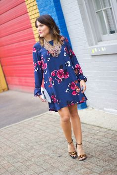 847fa5d9bf Be bold this fall and wear this gorgeous blue floral dress with a pair of  leggings