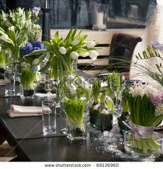 Beautiful wedding table decoration with tulips