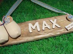Geboortebord van sloophout. Leuk om zelf te maken!