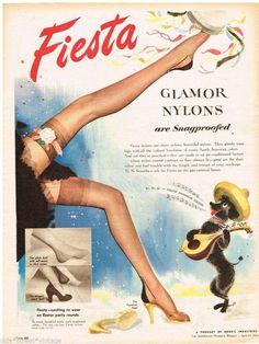 vintage stocking ads | FIESTA AD GLAMOUR NYLONS STOCKINGS Vintage Advertising 1954 Original ...