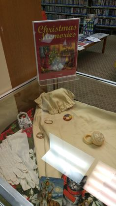 """2 Dec 2015 Theme: """"Christmas Memories"""" This case contains a wonderful collection of items from the late 1800s to the early 1900s. On loan from Gail Meloy."""