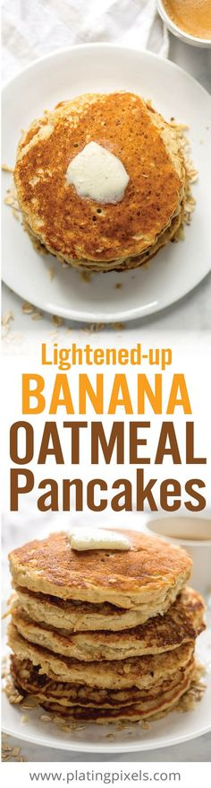 Gluten free Lightened Up Banana Oatmeal Pancakes make a quick and easy healthy breakfast. Made with wholesome ingredients including oats, almond flour, olive oil, milk, banana, honey and egg. - www.platingpixels.com