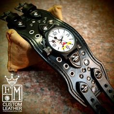 Leather cuff watch, Mickey Mouse, Disney, Freddie Matara Custom Leather