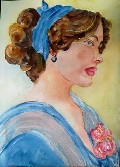 Lady in blue (Painting) by Agnes Mclaughlin