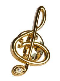 Anstecker Violinschlüssel / Notenschlüssel mit Stein