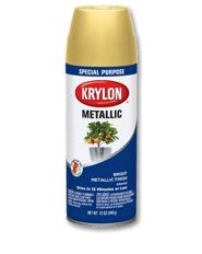 Metallic Paint - | Krylon Metallic Paint Provides a bright, polished metallic finish on a variety of projects. Easy to use; dries quickly Ideal for furniture, décor and crafts. Interior only; not for use on craft foam. Features EZ Touch 360°® Dial Spray Tip DRY TO TOUCH: 15 minutes DRY TO HANDLE: 1 hour FOR USE ON Ceramic, Plaster, Glass, Wicker, Metal, Wood