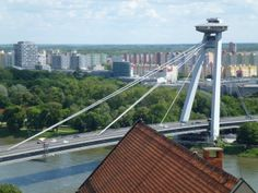 Danube River Cruise Ship    ||  DerTour Mozart   ||  Blatislava, Slovakia - New UFO bridge   ||  140512