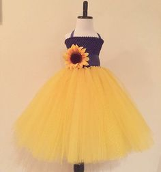 Sunflower Tulle Dress with Matching Headband Set, Navy and Yellow Sunflower Party Dress, Sunflower Wedding Flower Girl Dress, Yellow Tulle