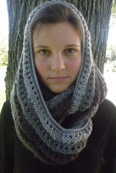 GRAY OMBRE Eyelet Infinity Cowl Hand Knit Scarf by Gone2Pieces