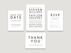 This modern invitation suite feature simple typography in black which looks amazing on heavy white card stock. This suite is perfect for anyone looking for simple, minimalist invitations for their wedding day.  This listing is for 4 printable files. Please note that no physical items will be sent. You will receive high quality cutting templates of each card sent to your email address that you can print at home or have printed professionally. Once the order has been placed I will work with…