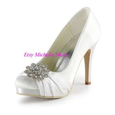 Size US 4--12 Fashion Evening Heels White,Ivory Round Toe Rhinestone High Heel Platform Satin Lace Wedding Evening Party Women Pumps Shoes