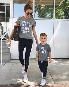 Mom and Mini's graphic tees: I'm not getting ready today Family Shirts, Baby Shirts, Kids Shirts, Mom Outfits, Dress Outfits, Baby Boy Fashion, Kids Fashion, Mothers Day Breakfast, Galvan