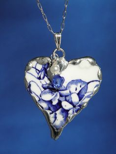 Broken China Jewelry Heart Pendant Necklace Bright Blue Floral China with a Sterling Silver Chain Included