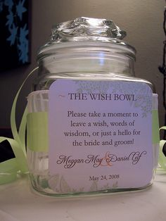 Wish Bowl, where guests write what they wish for the new couple <3