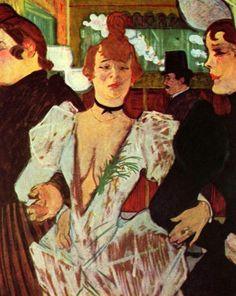 """""""두 여자와 물랭 루즈에 들어서는 라 굴뤼"""" (1892) 라 굴뤼는 당시 물랑 루즈의 춤을 주름잡던 유명인사였다. 라 굴뤼는 대식가라는 뜻인데 그녀는 이후 로트렉이 그리는 물랑 루즈 포스터의 모델이 될 정도로 당시 그곳을 상징하던 인물이었다. 이 작품에서는 그녀의 표정에서 어딘지 모르게 익살스러운 느낌이 가득하다."""