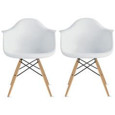 Set of Two (2) White - Eames Replica Armchair Natural Wood Legs Eiffel Dining Room Chair - Modern Lounge Armchairs - Sears