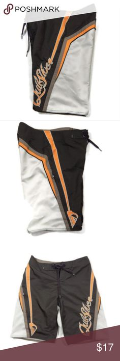Quiksilver Boardshorts Swimsuit Swim Trunks Gently used ~  no holes/stains/picks/fraying. Tie fly. No liner.   Measurements taken laying flat, unstretched Waist: 28 inches Length: 19 inches  From a smoke free, pet free environment. Quiksilver Swim Board Shorts