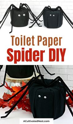 DIY Halloween Toilet Paper Spider- If you want to add some Halloween decor to your home on a budget, you have to make this DIY Halloween toilet paper spider. It's easy, and adorable too! | DIY Halloween decorations, #halloweenDecorations #diyProjects #DIYs #Halloween #ACultivatedNest Diy Halloween Spider, Halloween Treats To Make, Halloween This Year, Halloween Banner, Halloween Drinks, Diy Halloween Decorations, Halloween Ideas, Black Pipe, Old T Shirts