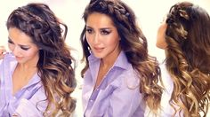 Learn how to create 3 big headband braids with curls for everyday. Quick and easy everyday hair tutorial for short, long or medium hair.