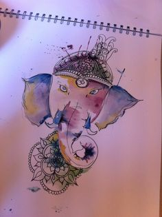 Watercolour Ganesh elephant.