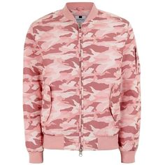 TOPMAN Pastel Pink Camouflage Bomber Jacket ($27) ❤ liked on Polyvore featuring men's fashion, men's clothing, men's outerwear, men's jackets, pink, mens fur collar bomber jacket, mens polyester jackets, mens camouflage jacket, topman mens jackets and mens collared jacket