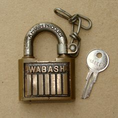 For Sale on Ruby Lane: Wabash Railroad Brass Padlock with Key Set from timestreasures on Ruby Lane http://www.rubylane.com/item/27950-3349/Wabash-Railroad-Brass-Padlock-Key