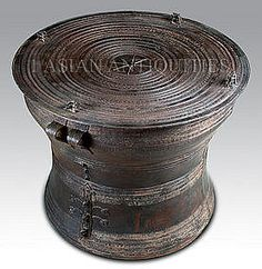 Marvelous Thai Frog Drum Table | Asian Rain Drum Antiqued 24 Inch Wide Frog Style  (item