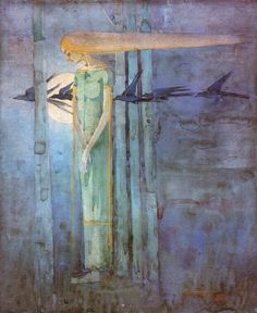Girl in East Wind with Ravens by Frances Macdonald.