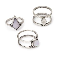 FOREVER 21 Faux Stone Ring Set (31 VEF) ❤ liked on Polyvore featuring jewelry, rings, artificial jewelry, stone jewellery, stone rings, imitation jewellery and stone jewelry