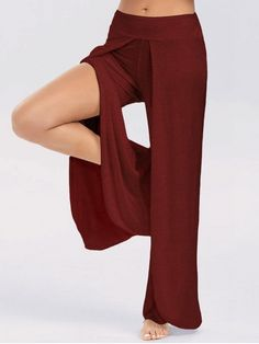 High Slit Palazzo Pants - WINE RED XL