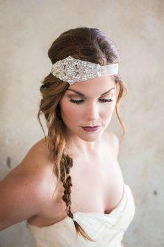Beaded Rhinestone Bridal Headband Ivory Pearls by theyellowpeony