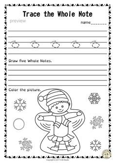 A set of 20 winter themed music worksheets is created to help your students learn to trace, copy, color and draw symbols, notes and rests commonly used in music. Practice in copying them onto their positions on the staff is provided in large size. Music Games, Art Music, Music Lyric Tattoos, Music Worksheets, Elementary Music, Music Therapy, Music Classroom, Music Covers, Teaching Music