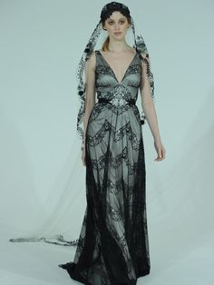 95f23a01645 Claire Pettibone plunging neckline black lace wedding dress with black veil  from Spring 2016 Black Bridesmaid
