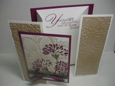 """Stamps: Hello Doily, Love & Care, Word Play (inside); Paper: White, Rich Razzleberry, Crumb Cake; Ink: Rich Razzleberry pad & marker, Crumb Cake, Always Artichoke pad & marker; Tools: Vintage Wallpaper embossing folder; Other: Rich Razzleberry 1/4"""" grosgrain ribbon. Always Artichoke 3/8"""" denim jean ribbon; Inspiration: Eileen Lefevre http://elefevre.blogspot.com/ posted 20 aug 11"""
