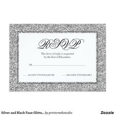 Silver and Black Faux Glitter RSVP